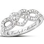 Personalized Engraved Lover's Knot Diamond Ring - Joined In Love