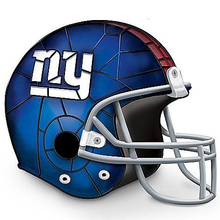 The Bradford Exchange Online - Officially Licensed New York Giants Stained-Glass Design Helmet Accent Lamp Photo