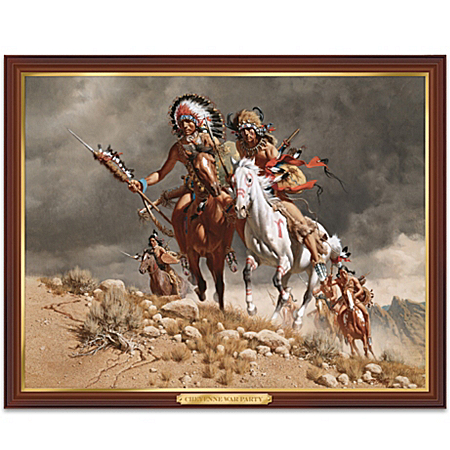 Native American Collectibles Cheyenne War Party Native American-Inspired Illuminating Print Wall Decor