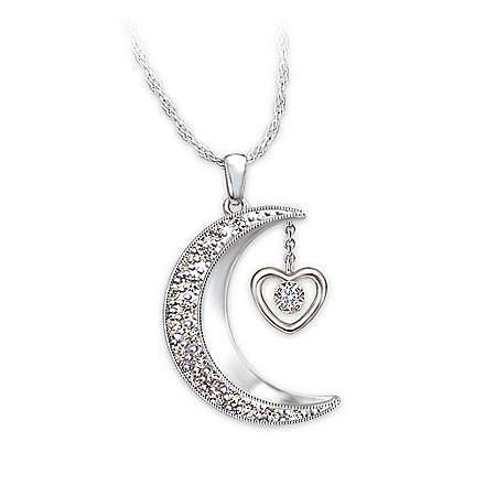 Moon-Shaped Diamond Pendant Necklace: I Love You To The Moon And Back