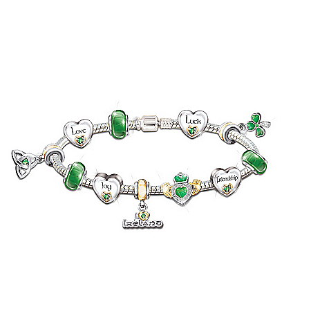 Irish Pride Charm Bracelet: Irish Blessings by The Bradford Exchange Online - Lovely Exchange