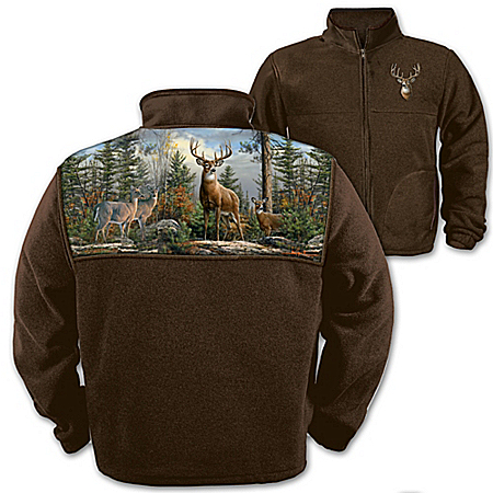 Deer Art Men's Fleece Jacket: Forest King by The Bradford Exchange Online - Lovely Exchange