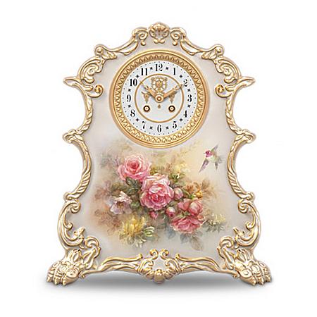 Lena Liu Roses Heirloom Porcelain Tabletop Clock