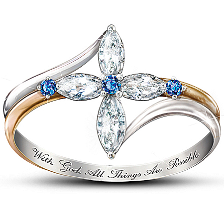 The Trinity White Topaz And Sapphire Cross Women's Ring