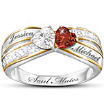 Topaz And Garnet Personalized Romantic Ring - Two Hearts Become Soul Mates