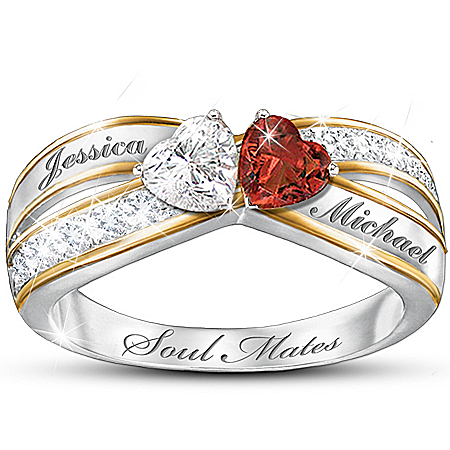 Topaz And Garnet Personalized Romantic Ring: Two Hearts Become Soul Mates – Personalized Jewelry