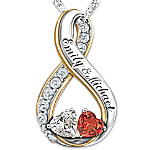 Topaz And Garnet Personalized Pendant Necklace - Two Hearts Become Soul Mates