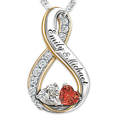 Topaz And Garnet Personalized Pendant Necklace: Two Hearts Become Soul Mates by The Bradford Exchange Online - Lovely Exchange