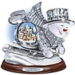 Thomas Kinkade Crystal Sledding Snowman - Let It Snow Figurine