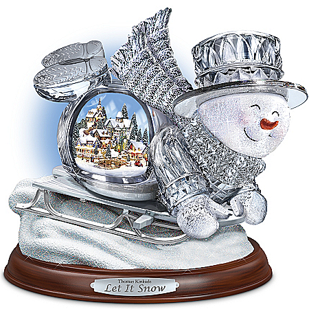 Thomas Kinkade Crystal Sledding Snowman: Let It Snow Figurine