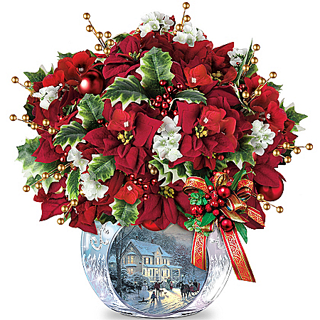 "Thomas Kinkade ""Bringing Holiday Cheer"" Floral Arrangement Centrepiece"