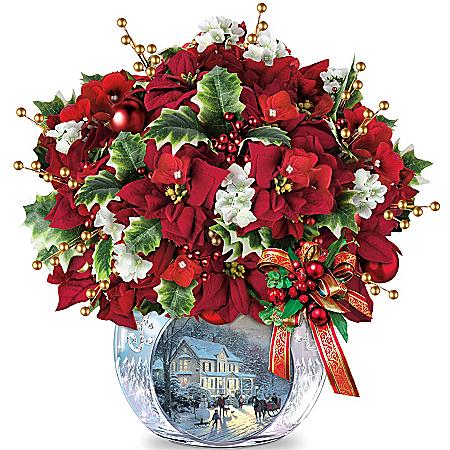 "Thomas Kinkade ""Bringing Holiday Cheer"" Floral Arrangement Centrepiece"