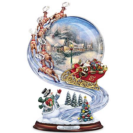 Sculpture: Thomas Kinkade Sharing Christmas Greetings Musical Sculpture