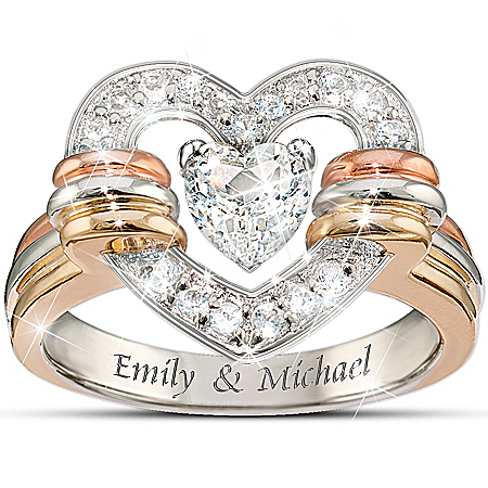 Personalized White Topaz Ring: Heart Full Of Love