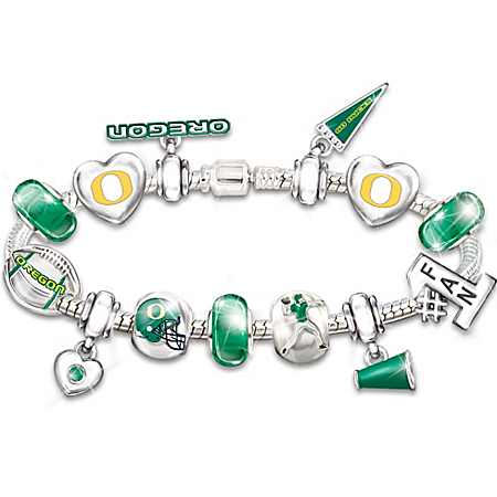 Oregon Ducks #1 Fan Charm Bracelet: Go Ducks! by The Bradford Exchange Online - Lovely Exchange