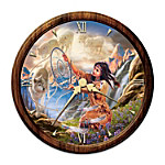 Native American-Inspired Stained Glass Wall Clock - Illuminating Spirits