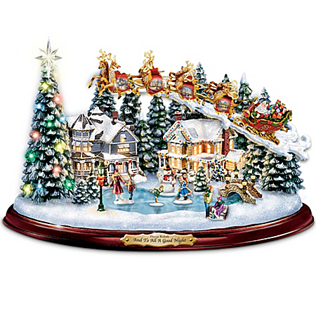 Thomas Kinkade And To All A Good Night Christmas Sculpture