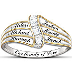 Name-Engraved Personalized Diamond Ring Our Family Of Love