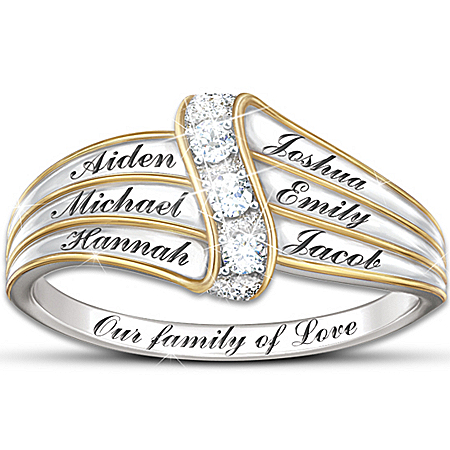 Name-Engraved Personalized Diamond Ring: Our Family Of Love