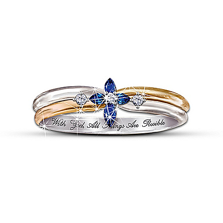 The Trinity Sapphire And Diamond Cross Women's Ring: Engraved Religious Jewelry