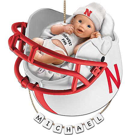 Nebraska Cornhuskers Personalized Baby's First Ornament