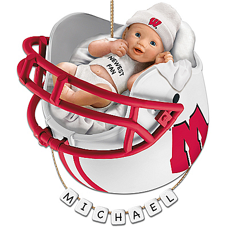 Wisconsin Badgers Personalized Baby's First Ornament