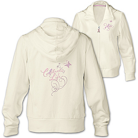 Breast Cancer Support Women's Hoodie: Celebrate Life by The Bradford Exchange Online - Lovely Exchange