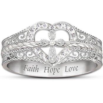 Faith Hope Love Diamond Wedding Rings