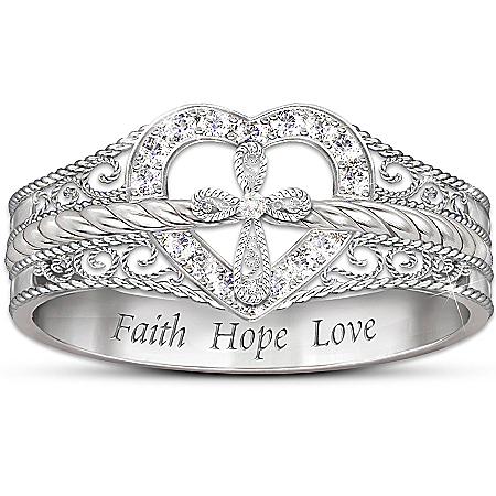 Blessed Inspiration Diamond Ring: Faith Hope Love by The Bradford Exchange Online - Lovely Exchange