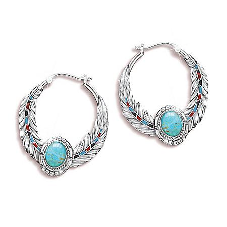 Sedona Sky Genuine Turquoise Cabochon Women's Hoop Earrings