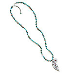 Sedona Sky Turquoise Long Necklace With Feather Charm