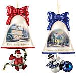 Christmas Ornaments - Thomas Kinkade Ringing In The Holidays Ornament Set - Set 3