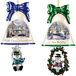 Christmas Ornaments - Thomas Kinkade Ringing In The Holidays Ornament Set - Set 4