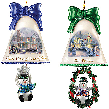 Christmas Ornaments: Thomas Kinkade Ringing In The Holidays Ornament Set: Set 4