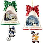 Christmas Ornaments - Thomas Kinkade Ringing In The Holidays Ornament Set - Set 5