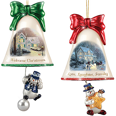 Christmas Ornaments: Thomas Kinkade Ringing In The Holidays Ornament Set: Set 5 by The Bradford Exchange Online - Lovely Exchange