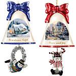 Christmas Ornaments - Thomas Kinkade Ringing In The Holidays Ornament Set - Set 6
