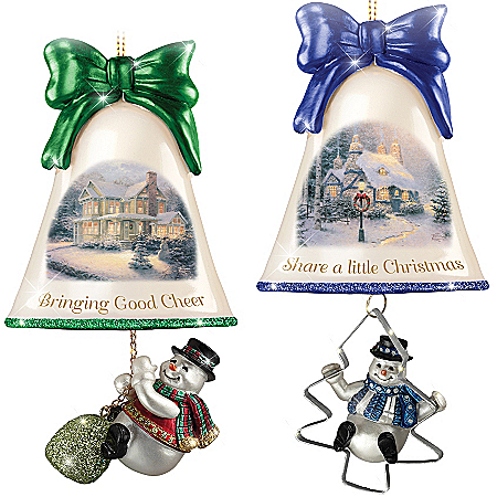 Christmas Ornaments: Thomas Kinkade Ringing In The Holidays Ornament Set: Set 7 115342007