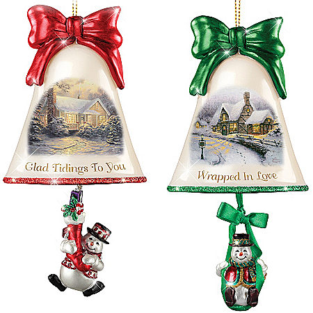 Christmas Ornaments: Thomas Kinkade Ringing In The Holidays Ornament Set: Set 8 by The Bradford Exchange Online - Lovely Exchange