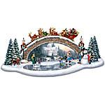 Thomas Kinkade Christmas Decor Bridge Sculpture - Light Up The Season