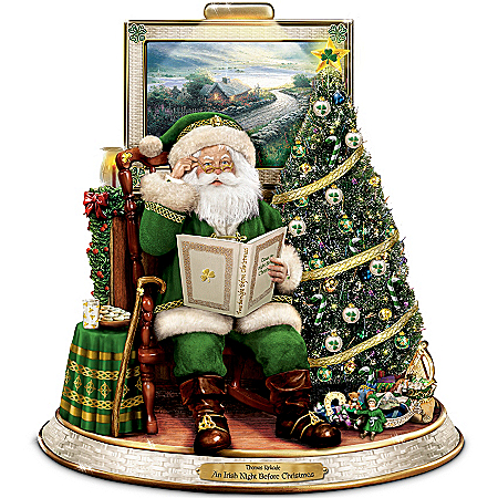 Thomas Kinkade An Irish Night Before Christmas Tabletop Talking Santa Centerpiece