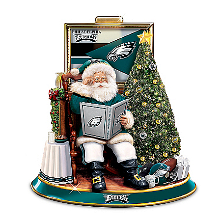 NFL Philadelphia Eagles Illuminated Talking Santa Tabletop Centerpiece