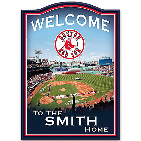 MLB Boston Red Sox Personalized Welcome Sign Wall Decor by The Bradford Exchange Online - Lovely Exchange