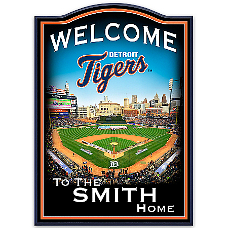 Wall Decor: Detroit Tigers Personalized Welcome Sign Wall Decor