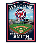 MLB-Licensed Washington Nationals Personalized Wooden Welcome Sign Featuring Nationals Park