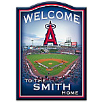MLB-Licensed Los Angeles Angels Of Anaheim Personalized Wooden Welcome Sign Featuring Angel Stadium Of Anaheim