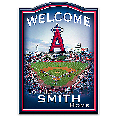 Los Angeles Angels of Anaheim Wooden Welcome Sign Personalized with Family Name