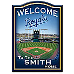 MLB-Licensed Kansas City Royals Personalized Wooden Welcome Sign Featuring Kauffman Stadium
