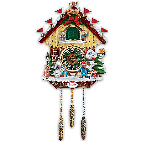 Cuckoo Clock: Rudolph The Red-Nosed Reindeer 50th Anniversary Cuckoo Clock by The Bradford Exchange Online - Lovely Exchange