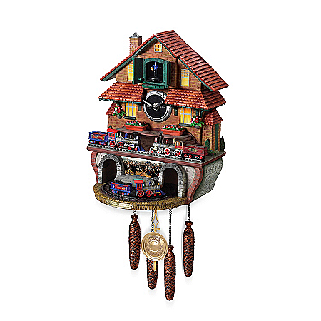 Train Cuckoo Clock: Golden Spike